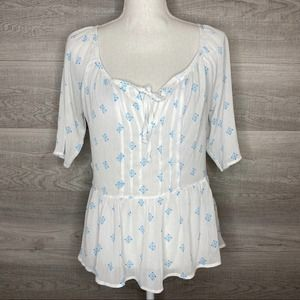 Blue & White Sheer Hollister Top Size Small Flowy